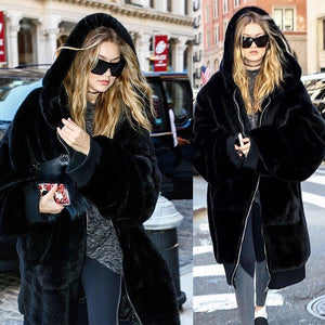 Winter Faux Fur Coat Women Long Warm Faux Fur Jacket Coat Casual Hoodies Loose Pocket Coat Outwear casaco feminino