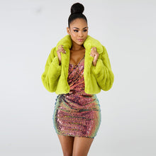 Load image into Gallery viewer, Lime Green Short Faux Fur Coat Winter Neon Fluorescent Warm Cardigan Cropped Jacket Fluffy Teddy Coats