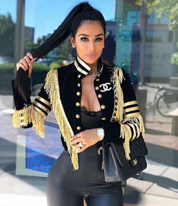 Ladies Sexy Long Sleeve Tassel Button Women Coat  Celebrity Designer Party Coat