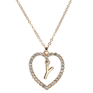 Love Heart Necklaces & Pendants Double Rhinestone Choker Necklace Women Statement Jewelry