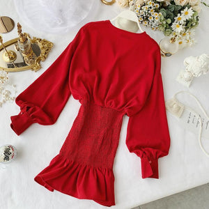Autumn Sexy Long Puff Sleeve V Neck Red High Waist Free Size Slim Short Mini Dress Women