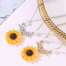 Load image into Gallery viewer, Delicate Sunflower Pendant Necklace For Women Creative Imitation Pearls Jewelry Necklace Clothes Accessories