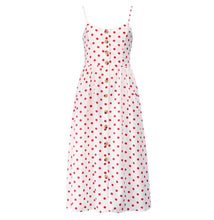 Load image into Gallery viewer, Elegant Button Women Dress Pocket Polka Dots Yellow Cotton Midi Dress