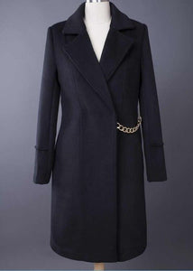 Winter Wool Coat Fashion Turn-Down Collar Long Sleeve Coat With Chains