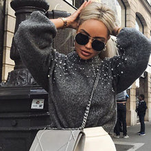 Load image into Gallery viewer, Women Sweater  Pearl Pullover Female Sweater Oversize Autumn Winter Long Sleeve Sweaters O Neck Pull Femme