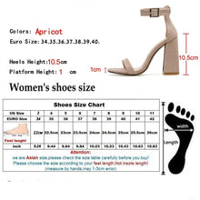Load image into Gallery viewer, Gladiator Sandals Summer Office High Heels Shoes Woman Buckle Strap Pumps Casual Women Shoes Apricot