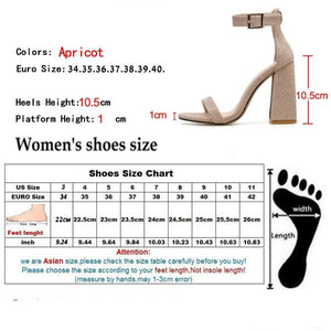 Gladiator Sandals Summer Office High Heels Shoes Woman Buckle Strap Pumps Casual Women Shoes Apricot