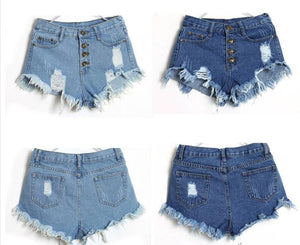 Shorts Women Vintage High Waist Shorts Slim Fit Denim Jeans Shorts Worn Loose Burr Hole Jeans