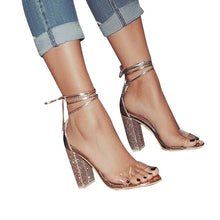 Load image into Gallery viewer, Fashion Woman Sexy Peep Toe Stiletto High Heel Shoes Sandals Party Dress Gold Silver Wedding Shoes Female Lace Up Crystal Sandal
