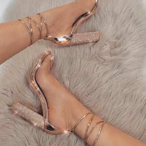 Fashion Woman Sexy Peep Toe Stiletto High Heel Shoes Sandals Party Dress Gold Silver Wedding Shoes Female Lace Up Crystal Sandal