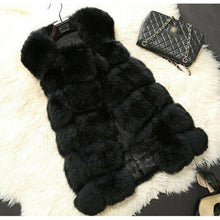 Load image into Gallery viewer, Winter Faux Fur Coat Women Sleeveless Faux Fox Fur Women Vest Solid Waistcoat Fashion Lady Jackets