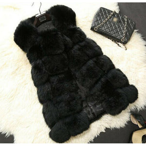 Winter Faux Fur Coat Women Sleeveless Faux Fox Fur Women Vest Solid Waistcoat Fashion Lady Jackets