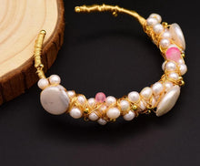 Load image into Gallery viewer, Original Natural Fresh Water Baroque Pearl Bangle & Bracelet For Women Wife Wedding Handmade Adjustable Jewellery GB0060