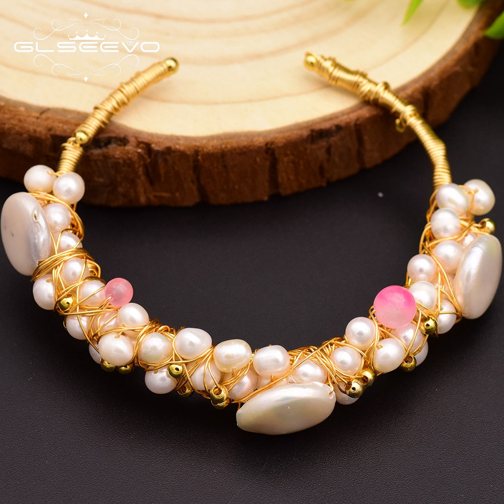 Original Natural Fresh Water Baroque Pearl Bangle & Bracelet For Women Wife Wedding Handmade Adjustable Jewellery GB0060
