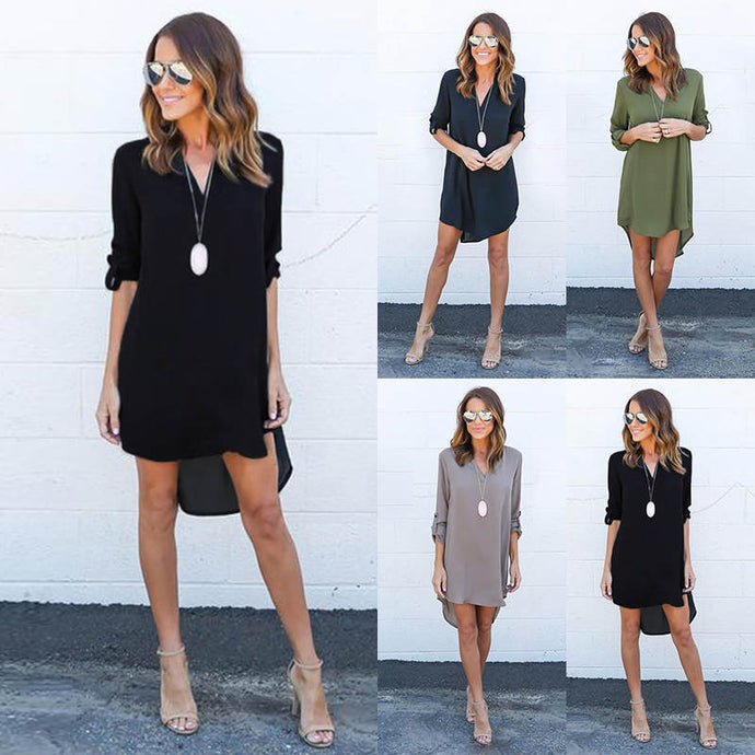 Hot Sale Summer Women Chiffon Summer Long Sleeve Loose Casual V-Neck Dress