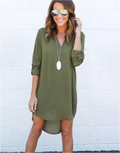 Load image into Gallery viewer, Hot Sale Summer Women Chiffon Summer Long Sleeve Loose Casual V-Neck Dress