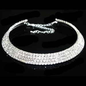 Hot Sale Women Fashion Jewelry Silver Color Crystal Rhinestone Collar Necklace Choker Necklaces Wedding Birthday Party  Jewelry