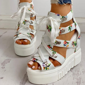 Hot Print Leisure Wedges women's Shoes Summer Shoes women Sandals Platform Shoelaces High Heels Casual Shoes Woman