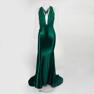 Satin Long Dress Women Elegant Backless Summer Dress Sexy V Neck Maxi Long Party Dresses Bandage Dress