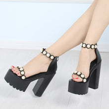 Load image into Gallery viewer, Summer Waterproof Platform 14CM Hate High Pearl Sandals Super High With Muffin Thick Platform Sandals