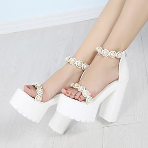 Summer Waterproof Platform 14CM Hate High Pearl Sandals Super High With Muffin Thick Platform Sandals