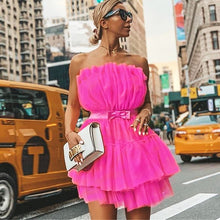 Load image into Gallery viewer, Mesh Strapless Lace Up Bandage Dress Fashion Ball Gown Club Party Dresses Women Summer Bow Sexy Dresses Vestidos