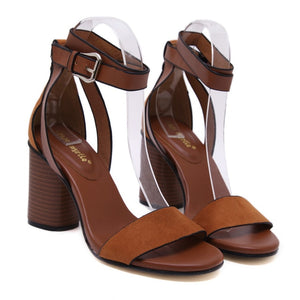 Summer Thick Heeled Women Sandals Pumps Flock Buckel Strap Thick High Heels Woman Shoes