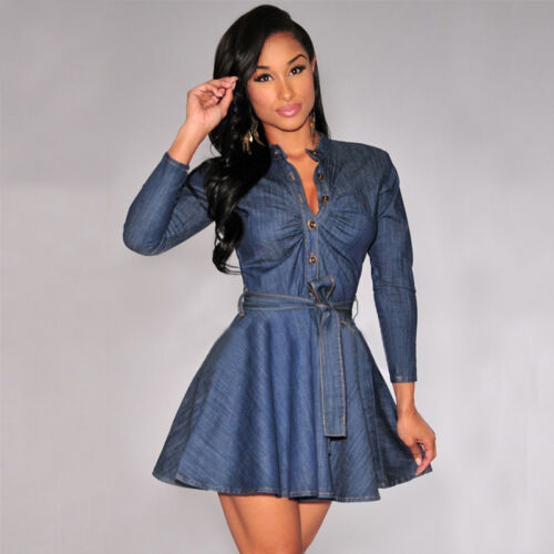 New Fashion Hot Sale Women's Denim Jean Long Sleeve Buttons High-waist Slim Shirt Short Dress Office Lady Work Clothing S-XXXL