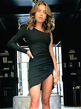 Load image into Gallery viewer, New Sexy Women's One Shoulder Solid Mini Dress Ladies Sexy Bodycon Long Sleeve Sexy Club Short Dresses New