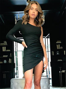 New Sexy Women's One Shoulder Solid Mini Dress Ladies Sexy Bodycon Long Sleeve Sexy Club Short Dresses New