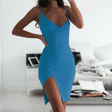 Load image into Gallery viewer, New Women's V Neck Bodycon Mini Dress Sleeveless Solid Color Sexy Strappy Dresses Ladies' Fashionable Summer Vestido Hot Sale
