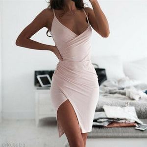 New Women's V Neck Bodycon Mini Dress Sleeveless Solid Color Sexy Strappy Dresses Ladies' Fashionable Summer Vestido Hot Sale