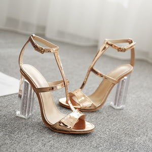 New metallic golden Women Sandals Gladiator High Heels Strap Pumps buckle Female Shoes Fashion Summer Ladies Shoes hollow