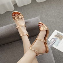 Load image into Gallery viewer, New metallic golden Women Sandals Gladiator High Heels Strap Pumps buckle Female Shoes Fashion Summer Ladies Shoes hollow