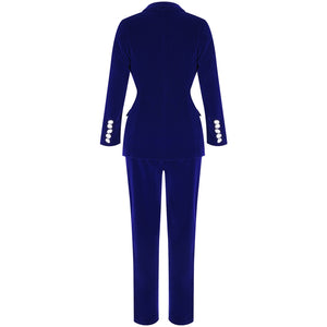 Summer Sets for Women Navy Blue V Neck Long Sleeve Sexy 2 Piece Set Outfits High Quality Two Piece Set Suit