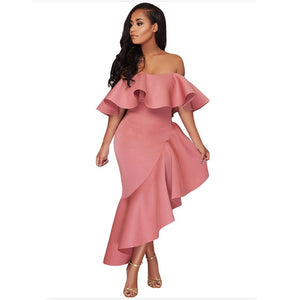 Off Shoulder Blackless Ruffles Yellow Dress Elegant Ladies Slim Bodycon Maxi Dress Vestido Women Mermaid Party Dress robe