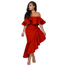 Load image into Gallery viewer, Off Shoulder Blackless Ruffles Yellow Dress Elegant Ladies Slim Bodycon Maxi Dress Vestido Women Mermaid Party Dress robe