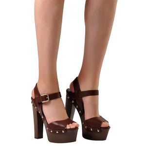 Pink Palms shoes sandals wedges shoes for women high heels peep toe ankle strap platform sandals