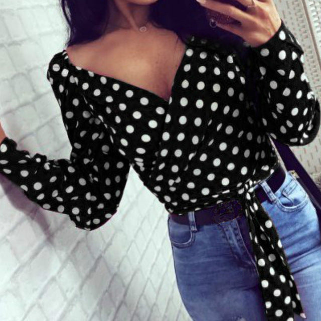 Polka Dot Blouses Women Fashion Summer Office Sexy Tops Club Party V-neck Long Sleeve Shirts Slashes Bandage Blouse