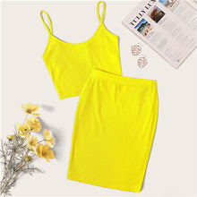 Load image into Gallery viewer, Neon Rib-Knit Crop Cami Top And Skinny Skirt Set Sexy Solid Sleeveless 2 Piece Set Spaghetti Strap Women Set