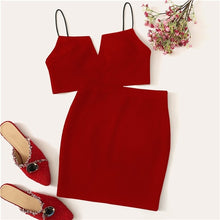Load image into Gallery viewer, V-Cut Crop Cami Top And Skirt Set Sexy Solid Notched Spaghetti Strap Summer Sleeveless Women Two Piece Sets