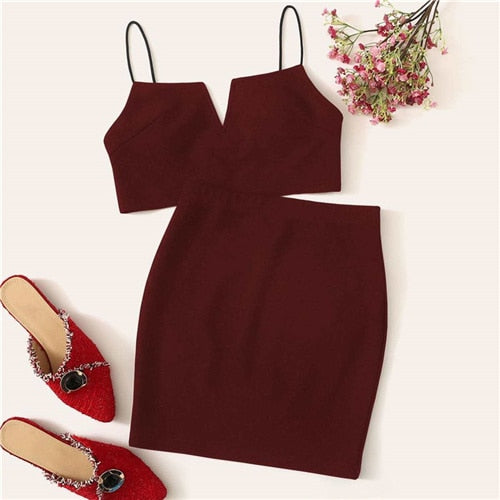 V-Cut Crop Cami Top And Skirt Set Sexy Solid Notched Spaghetti Strap Summer Sleeveless Women Two Piece Sets