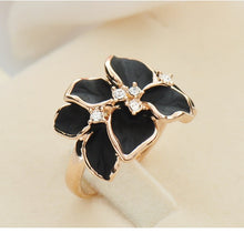 Load image into Gallery viewer, Hot Sale Jewelry Ring With Gold Color Austrian Crystal Black&White Color Enamel Flower Wedding Ring For Women