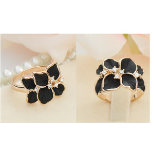 Hot Sale Jewelry Ring With Gold Color Austrian Crystal Black&White Color Enamel Flower Wedding Ring For Women