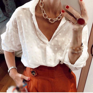 Soft women chiffon dot shirt summer elegant ladies fashion transparent blouses party girls casual tops