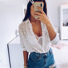 Load image into Gallery viewer, Soft women chiffon dot shirt summer elegant ladies fashion transparent blouses party girls casual tops