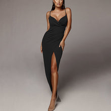 Load image into Gallery viewer, Solid Dress High Waist Split Sexy V Neck Bodycon Long Dress Spaghetti Straps Backless Bandage Maxi Dress Casual Party Vestitoes