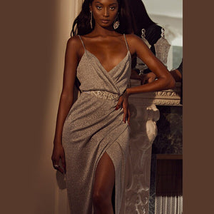 Solid Dress High Waist Split Sexy V Neck Bodycon Long Dress Spaghetti Straps Backless Bandage Maxi Dress Casual Party Vestitoes