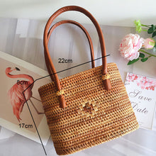 Load image into Gallery viewer, Straw Bag Women Handbag Beach Crossbody Shoulder Bags Handmade Woven Summer Travel For Ladies Round Rattan Handbags Women's Bags