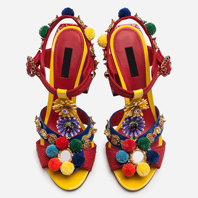 New Pom Ball Decor Sandal Shoe Patent Leather High Heel Sandals Red Bohemian Rhinestone Female Sandals Shoe
